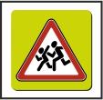 Знак 1.23 на желто-зеленом флуоресцентном фоне