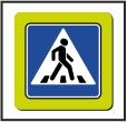 Знак 5.19.1 на желто-зеленом флуоресцентном фоне